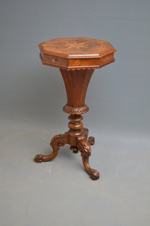 Victorian Trumpet Work Table in Walnut