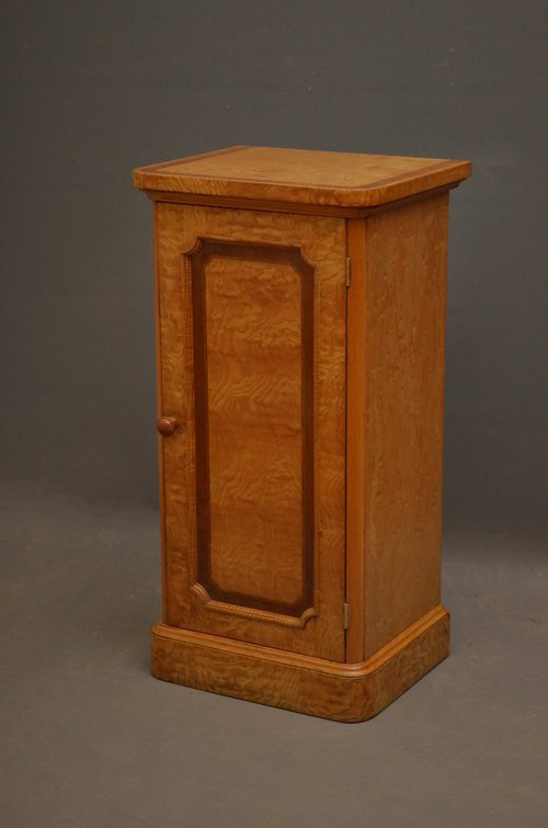 Victorian Bedside Cabinet in Figured Ash