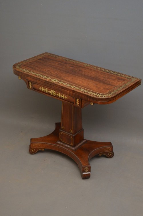 Excellent Regency Brass Inlaid Rosewood Card Table