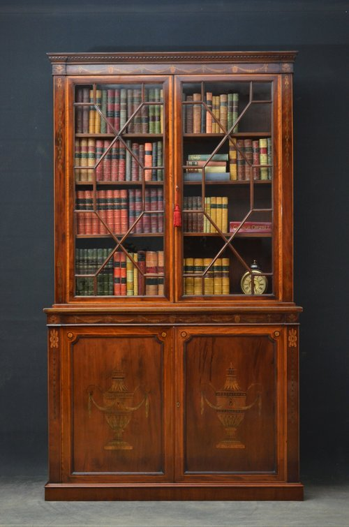 Edwardian Mahogany and Inlaid Library Bookcase