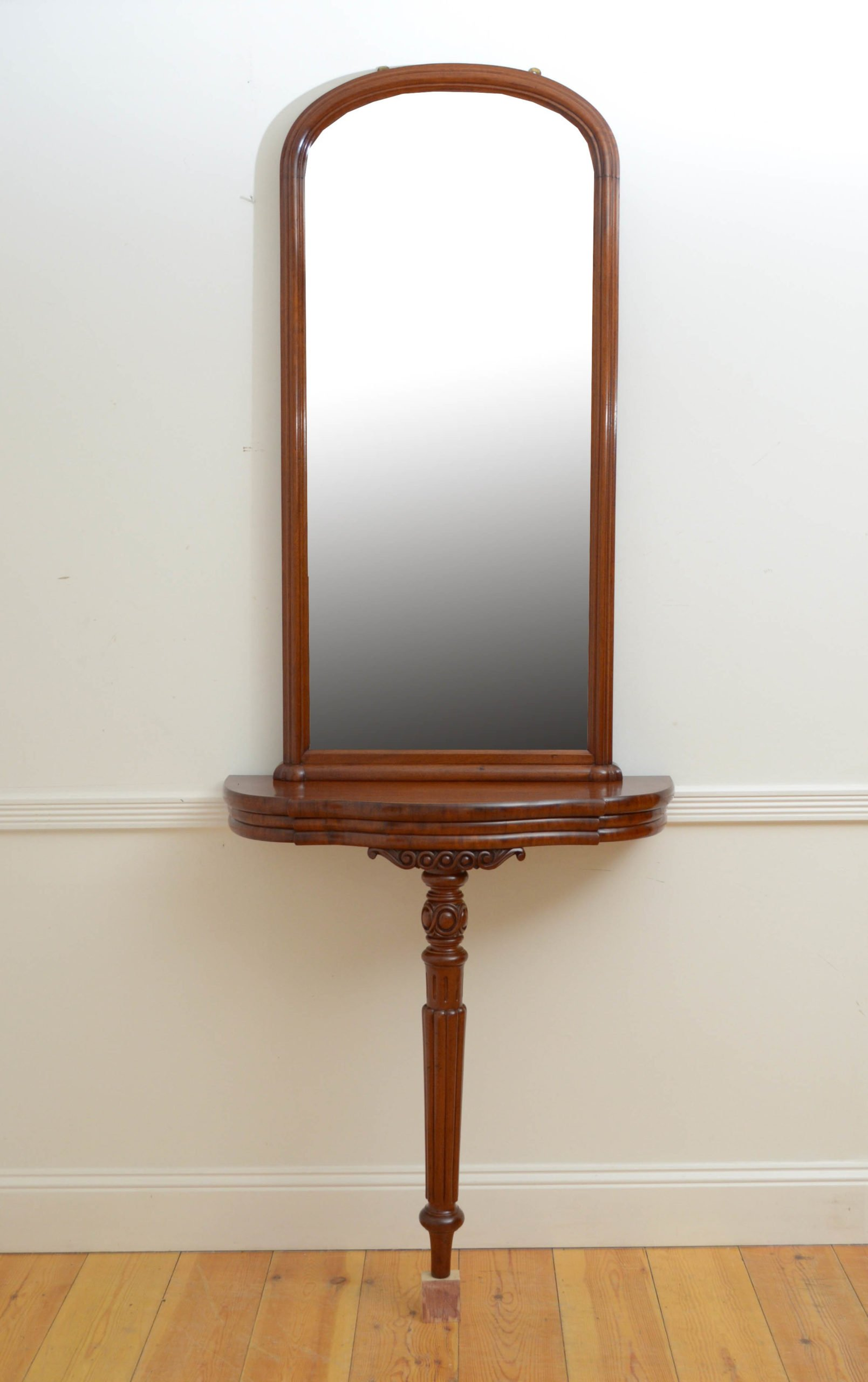 Victorian Console Table with Mirror in Mahogany