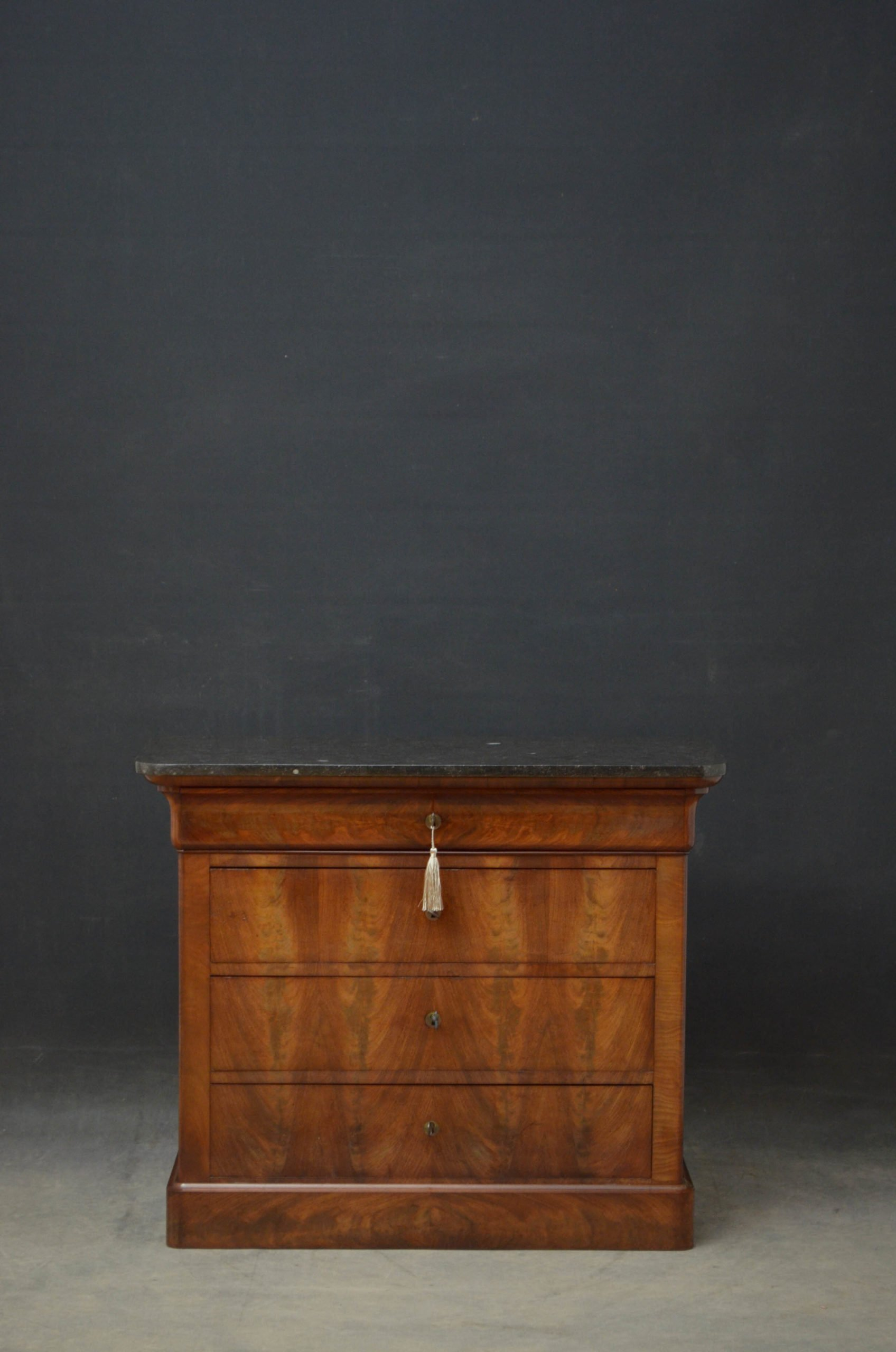 19th Century Continental Chest of Drawers in Flamed Mahogany