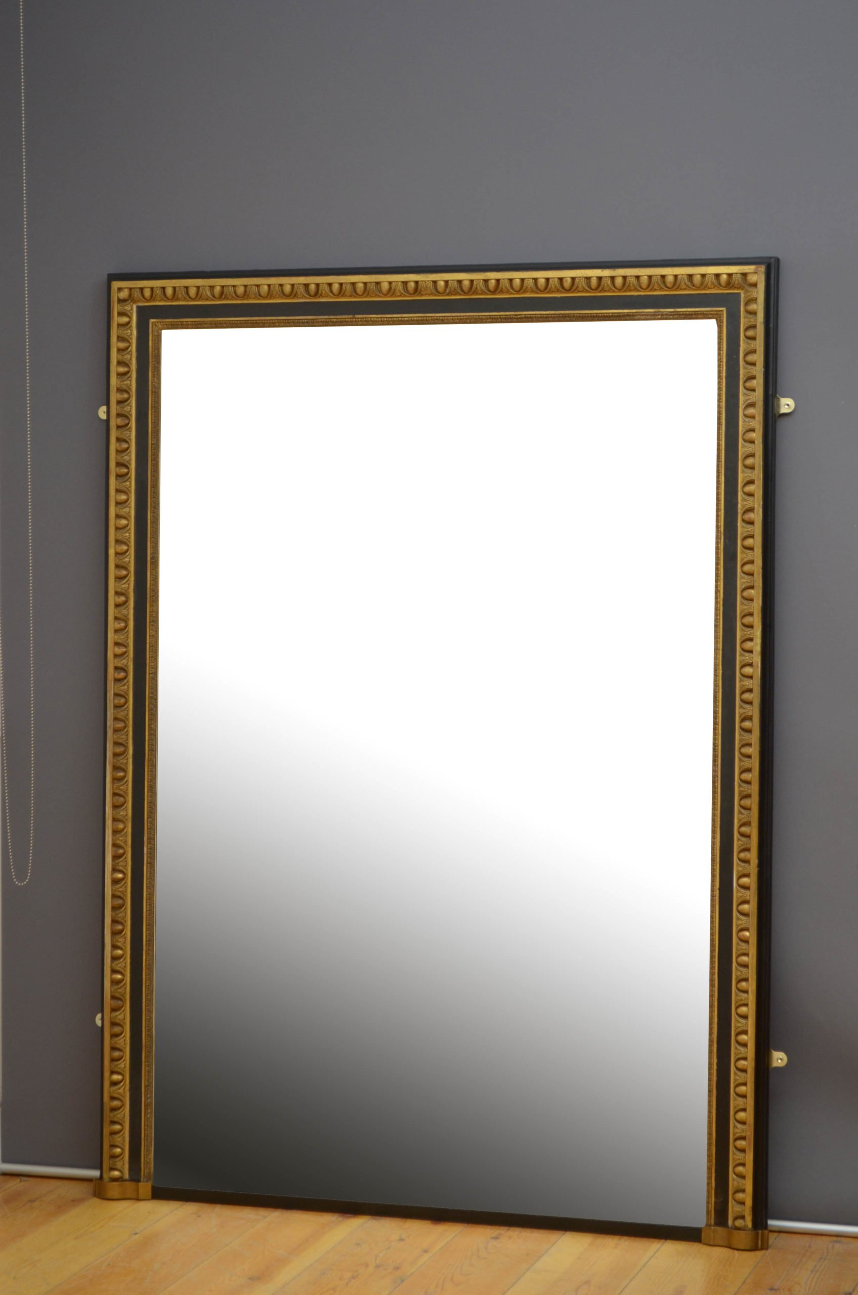 Large 19th Century Gilded and Ebonised Mirror H176cm
