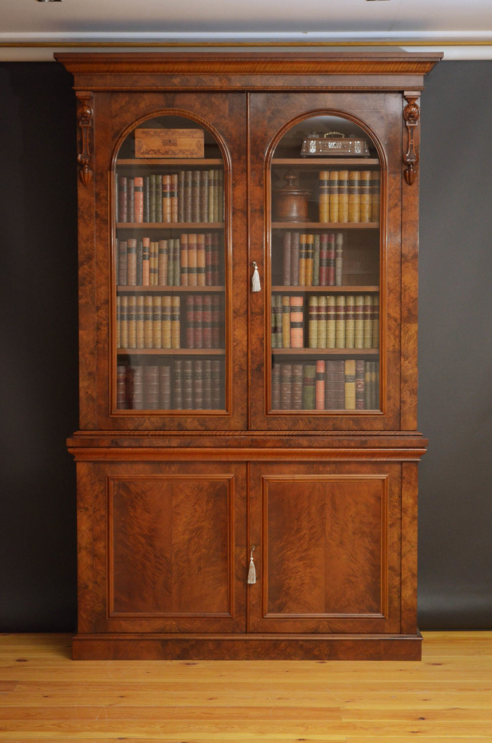 A Large Victorian Walnut Library Bookcase