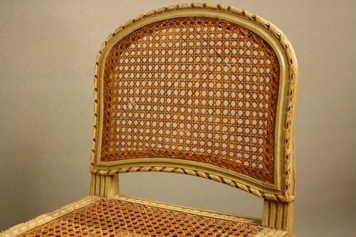 Pretty Painted Cane Seat/Stool